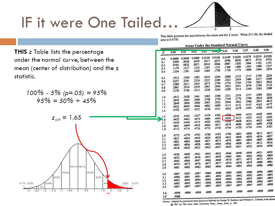 IF it were One Tailed… THIS z Table lists the percentage under the normal curve, between the mean (center of distribution) and the z statistic.