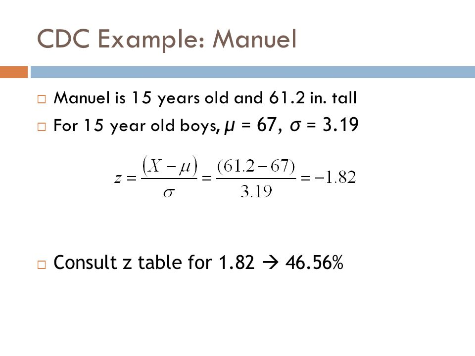 CDC Example: Manuel Manuel is 15 years old and 61.2 in. tall