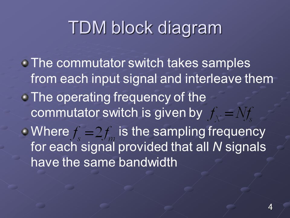 TDM block diagram The commutator switch takes samples from each input signal and interleave them.