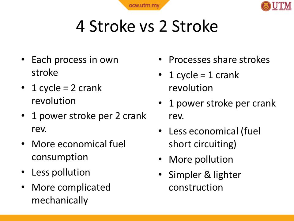 4 Stroke vs 2 Stroke Each process in own stroke