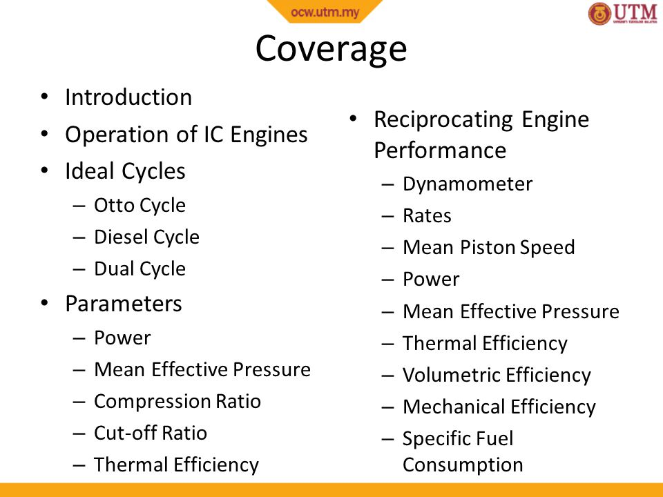 Coverage Introduction Operation of IC Engines