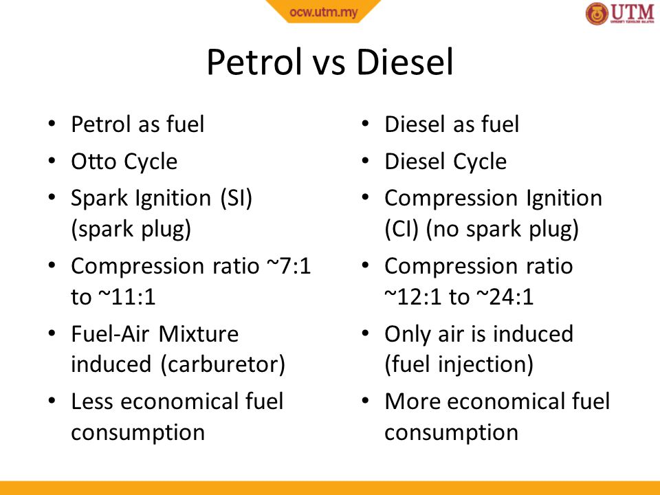 Petrol vs Diesel Petrol as fuel Otto Cycle