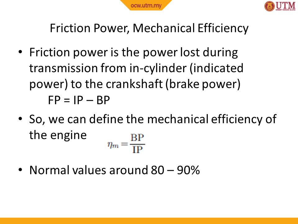 Friction Power, Mechanical Efficiency