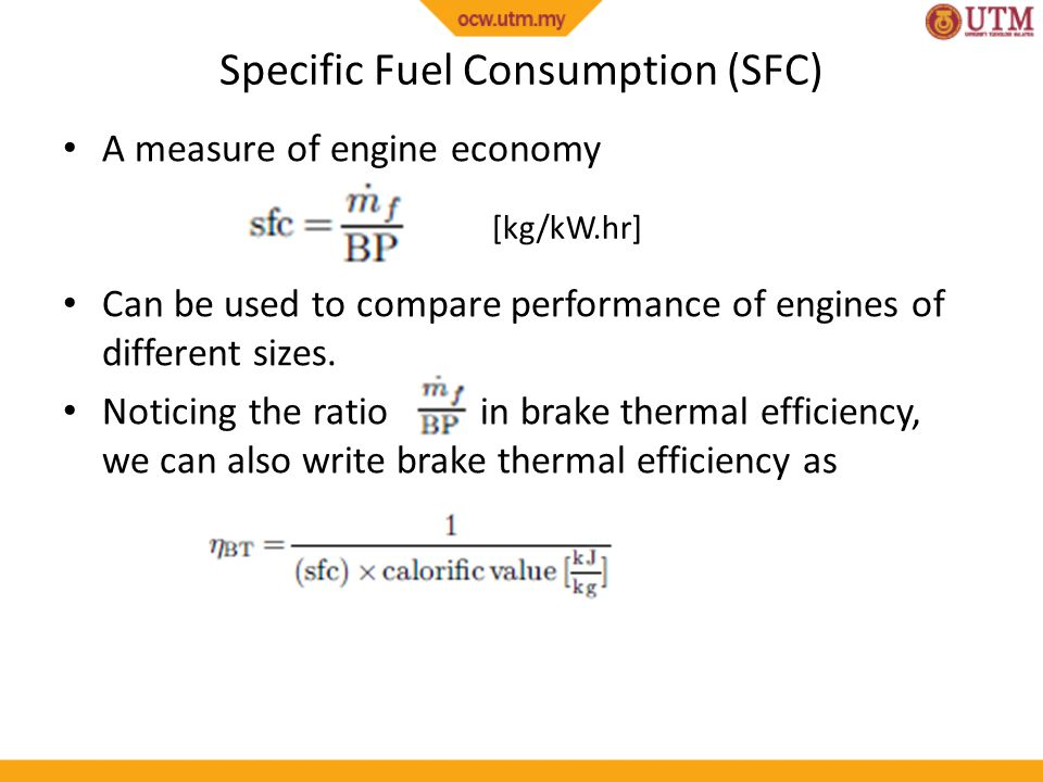 Specific Fuel Consumption (SFC)