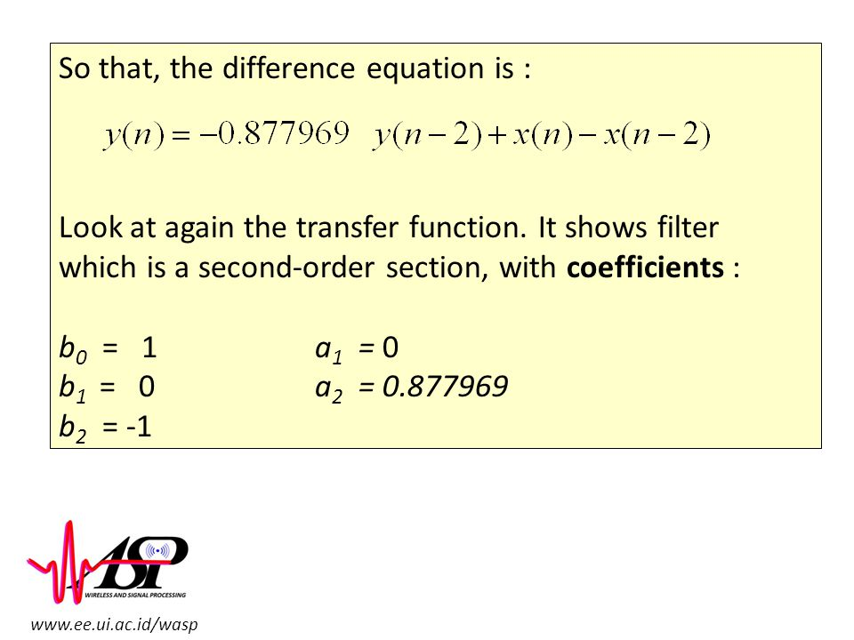 So that, the difference equation is :