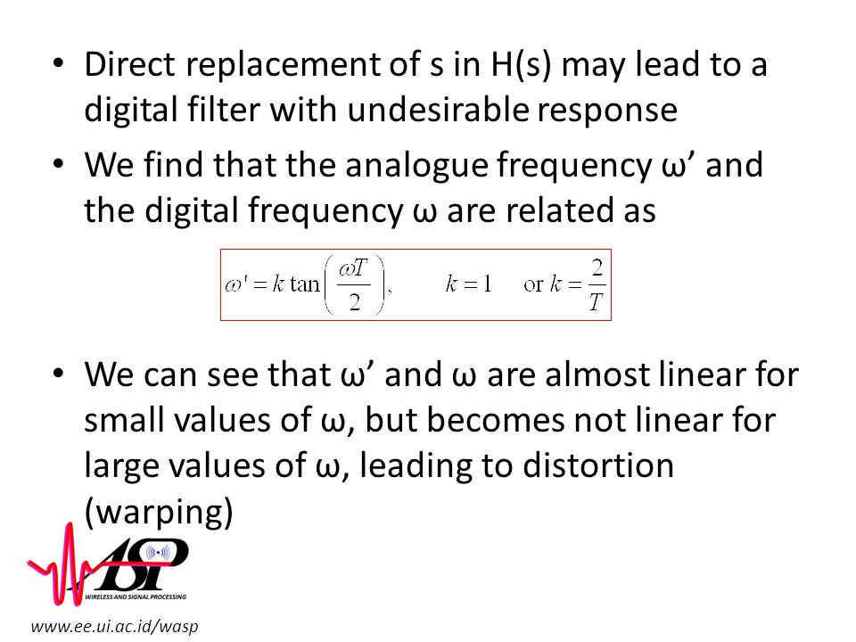 Direct replacement of s in H(s) may lead to a digital filter with undesirable response