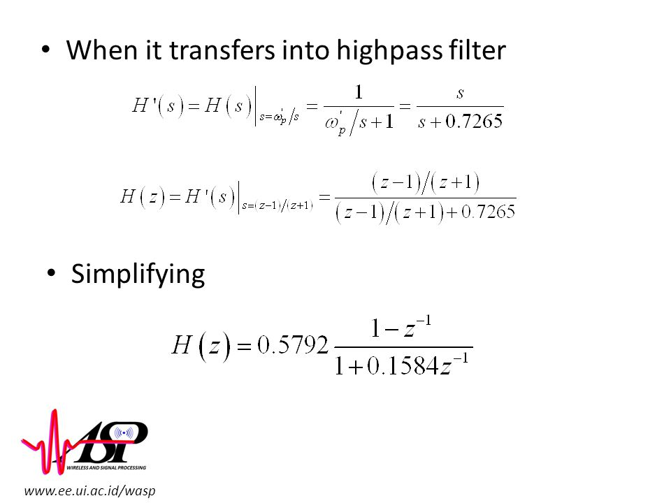 When it transfers into highpass filter