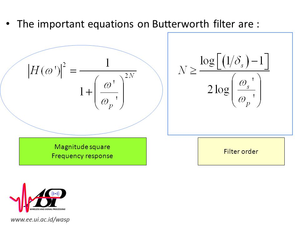 The important equations on Butterworth filter are :
