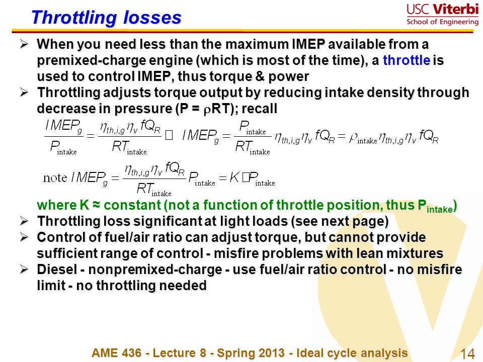 AME 436 - Lecture 8 - Spring 2013 - Ideal cycle analysis