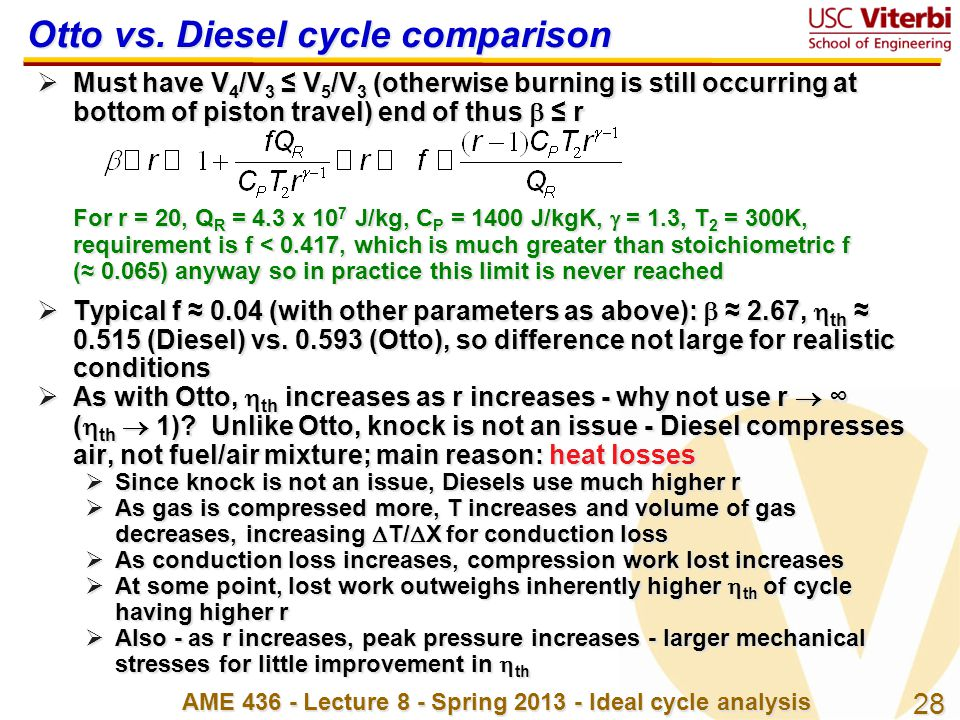 Otto vs. Diesel cycle comparison