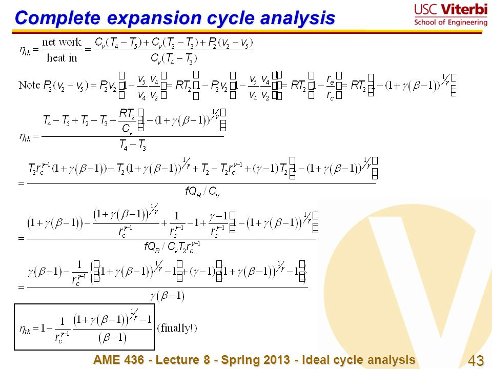 Complete expansion cycle analysis