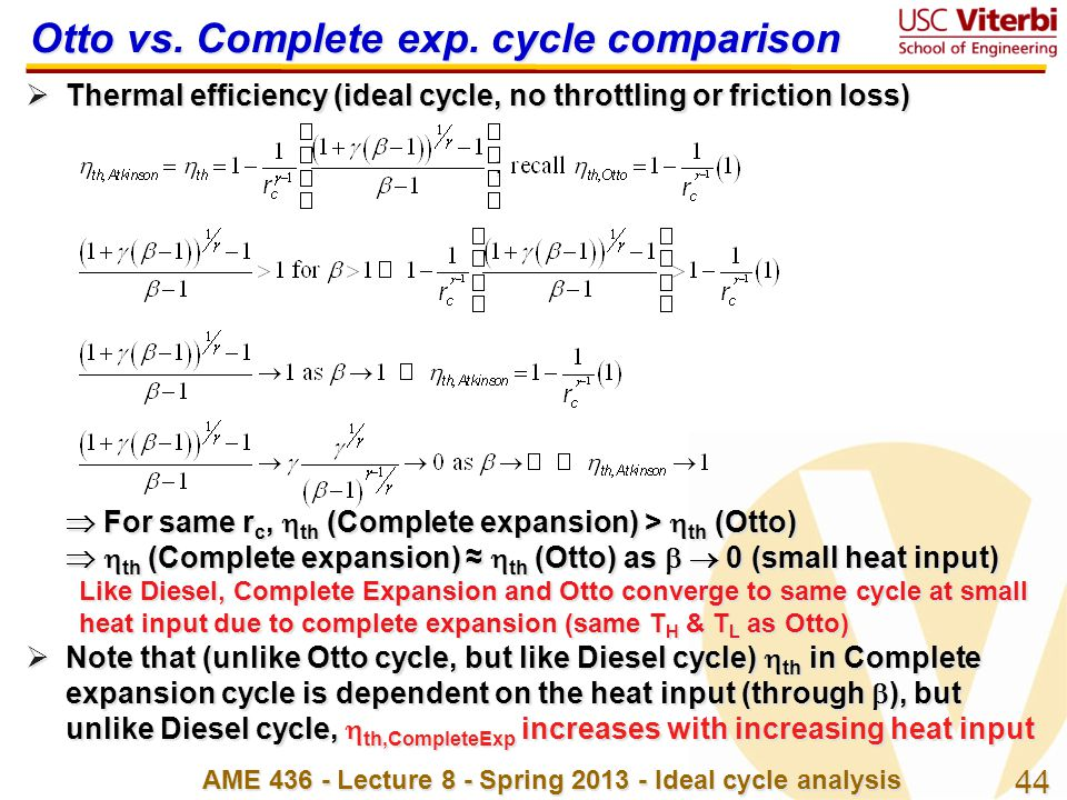 Otto vs. Complete exp. cycle comparison