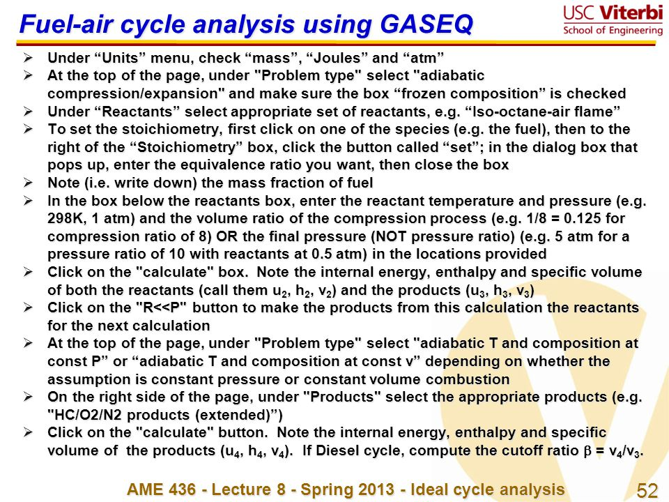 Fuel-air cycle analysis using GASEQ
