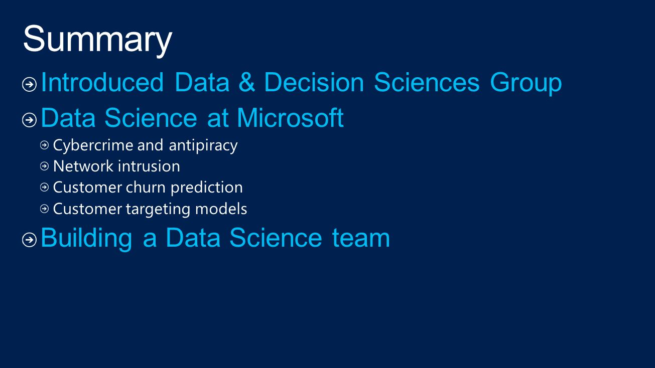 Summary Introduced Data & Decision Sciences Group