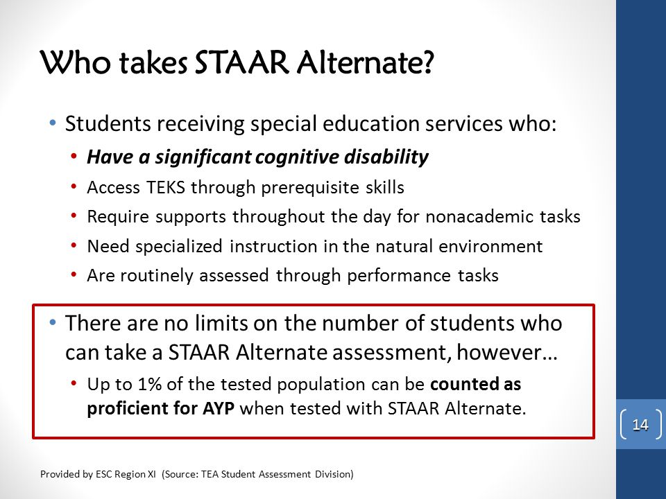 Who takes STAAR Alternate