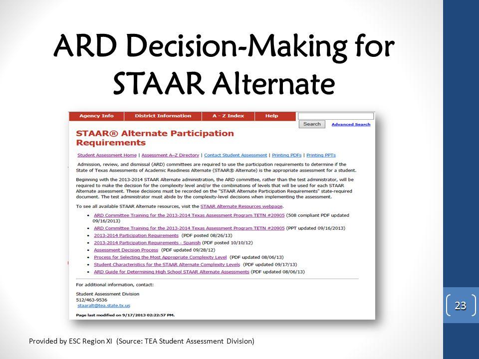 ARD Decision-Making for STAAR Alternate
