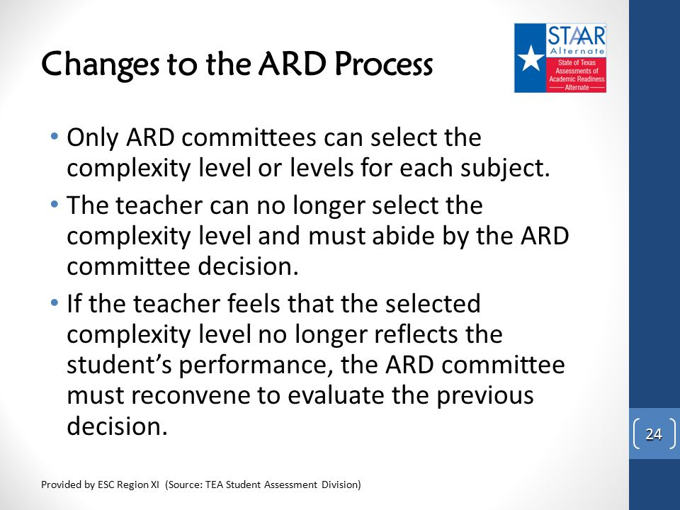 Changes to the ARD Process