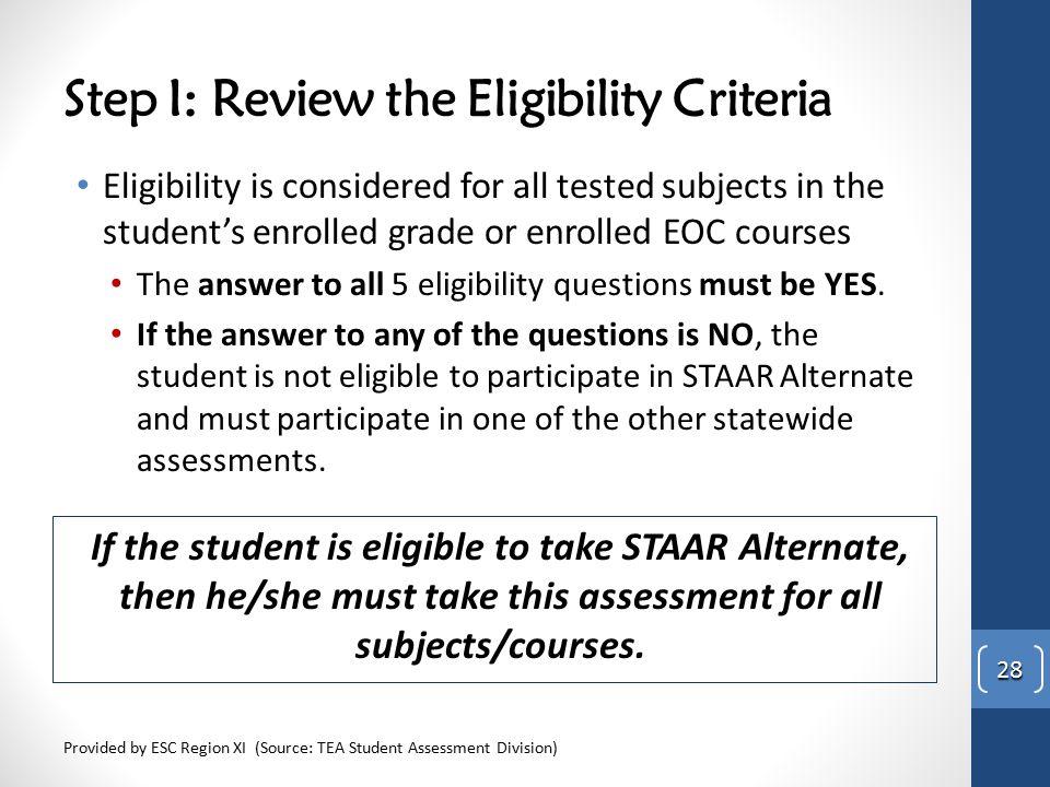 Step I: Review the Eligibility Criteria
