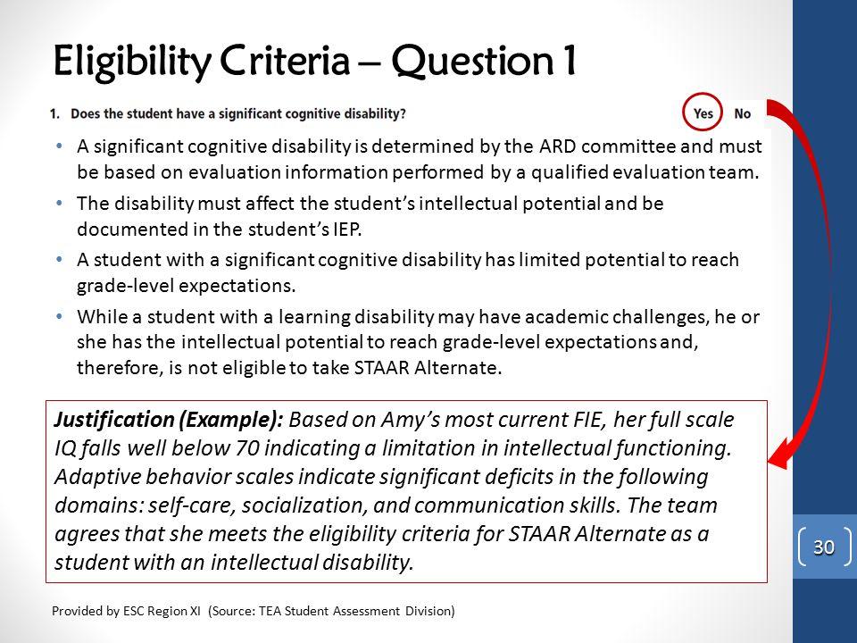 Eligibility Criteria – Question 1