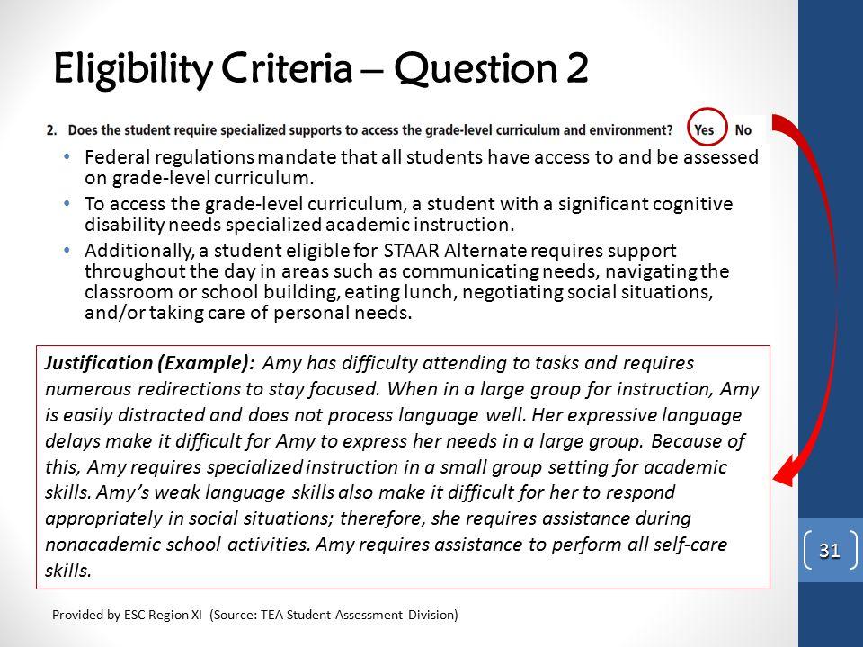 Eligibility Criteria – Question 2