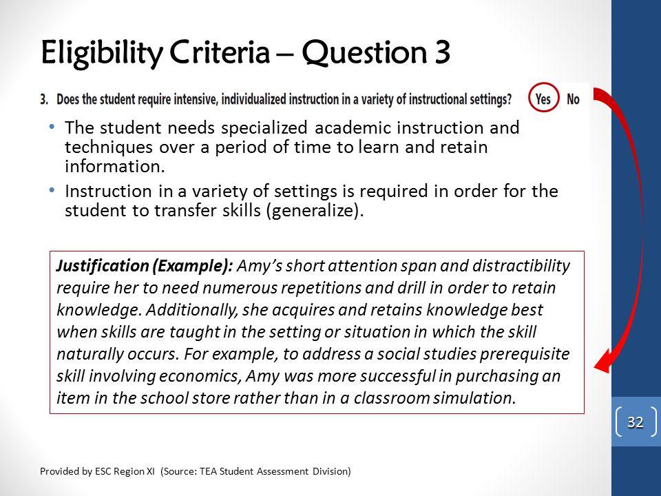 Eligibility Criteria – Question 3