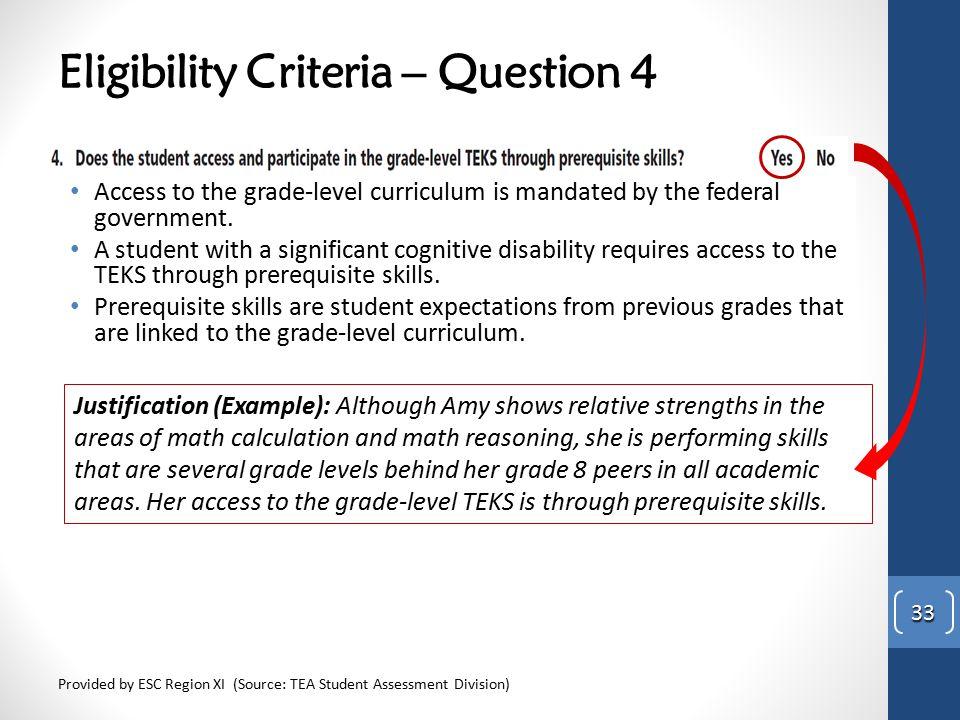 Eligibility Criteria – Question 4