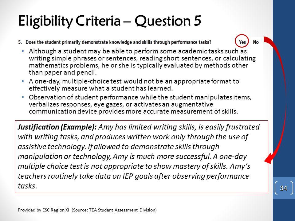 Eligibility Criteria – Question 5