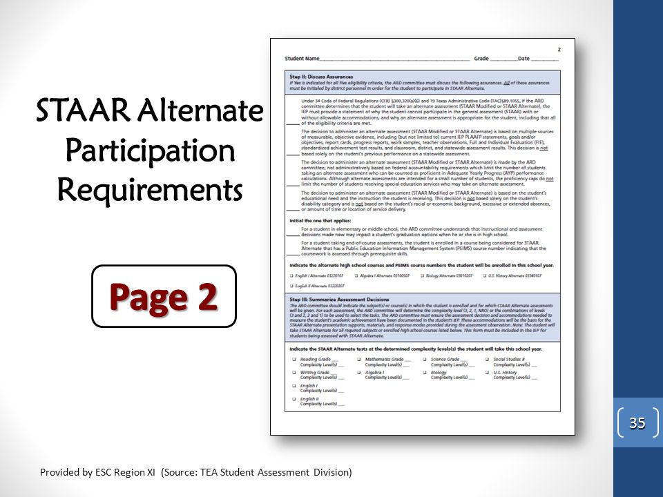 STAAR Alternate Participation Requirements