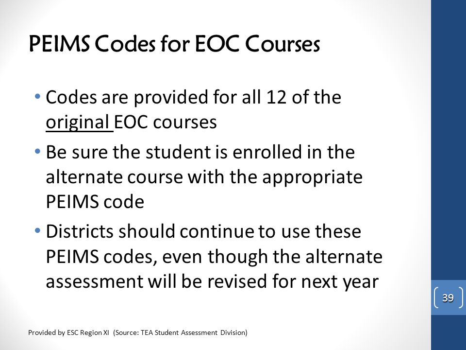 PEIMS Codes for EOC Courses