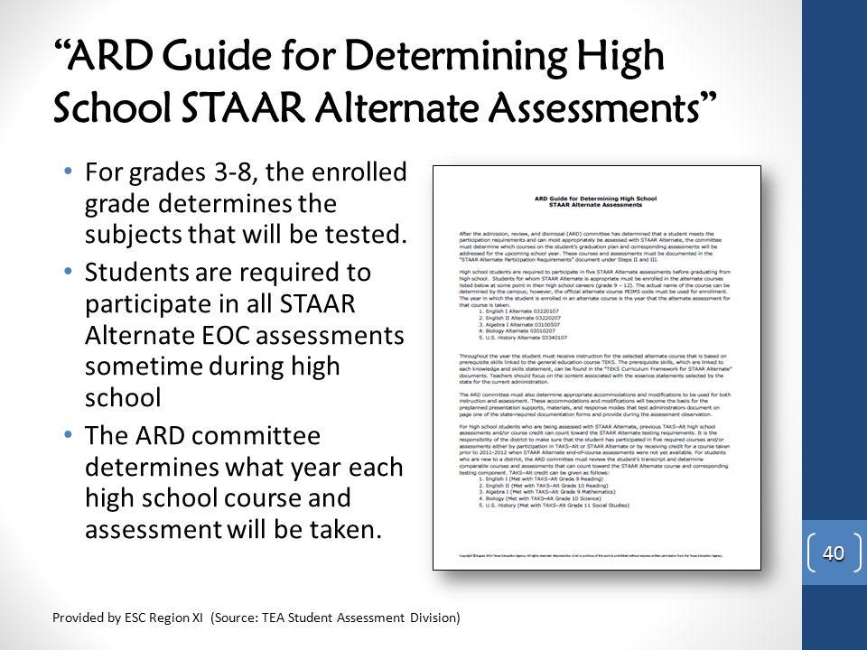 ARD Guide for Determining High School STAAR Alternate Assessments