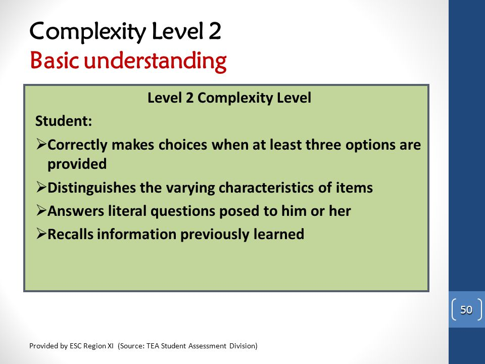 Complexity Level 2 Basic understanding