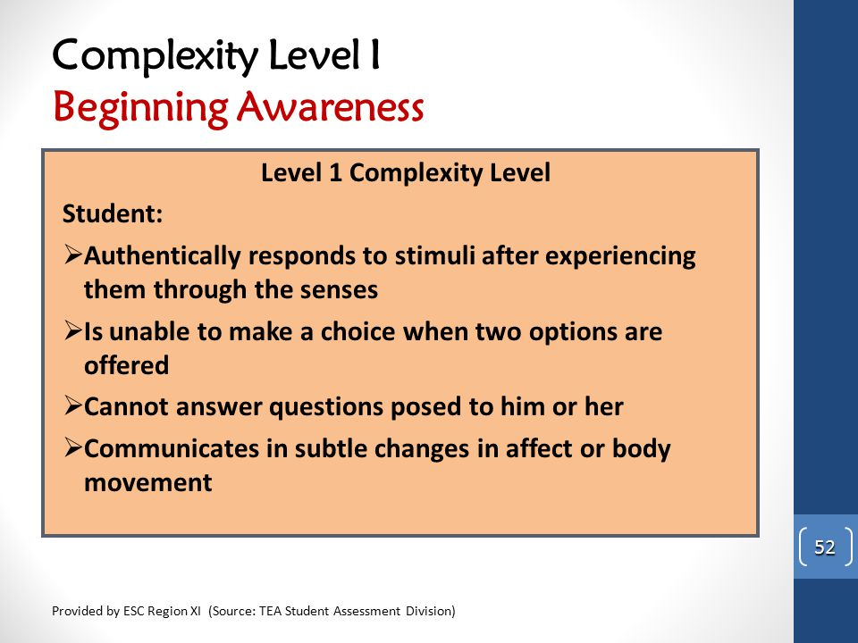 Complexity Level I Beginning Awareness