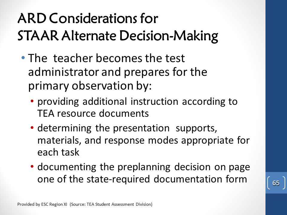 ARD Considerations for STAAR Alternate Decision-Making