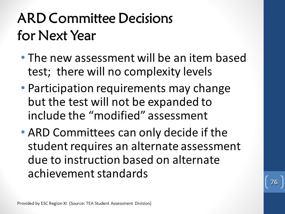ARD Committee Decisions for Next Year