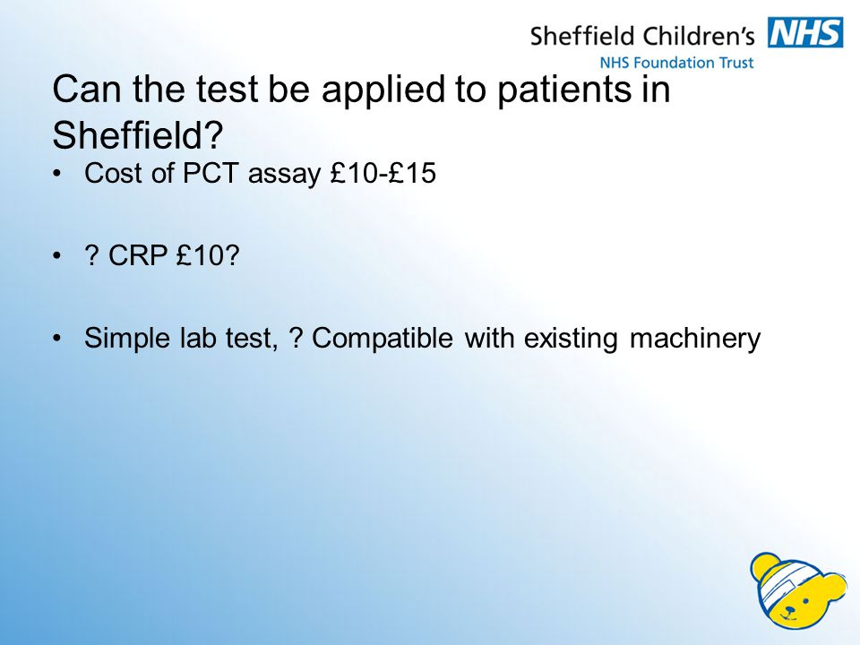 Can the test be applied to patients in Sheffield