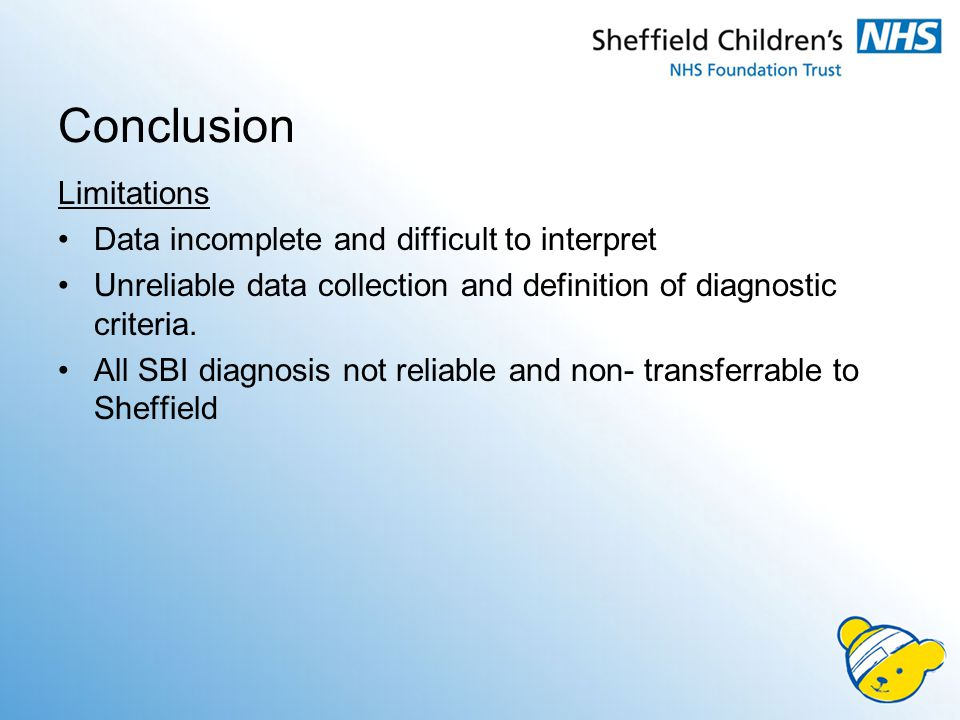 Conclusion Limitations Data incomplete and difficult to interpret