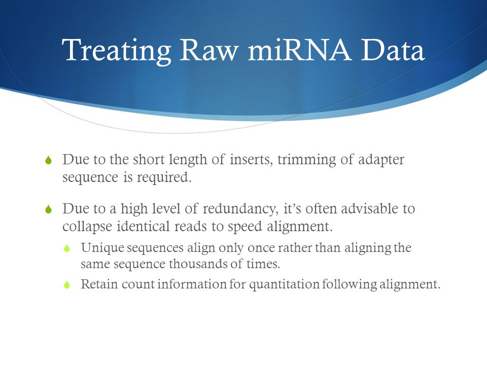 Treating Raw miRNA Data