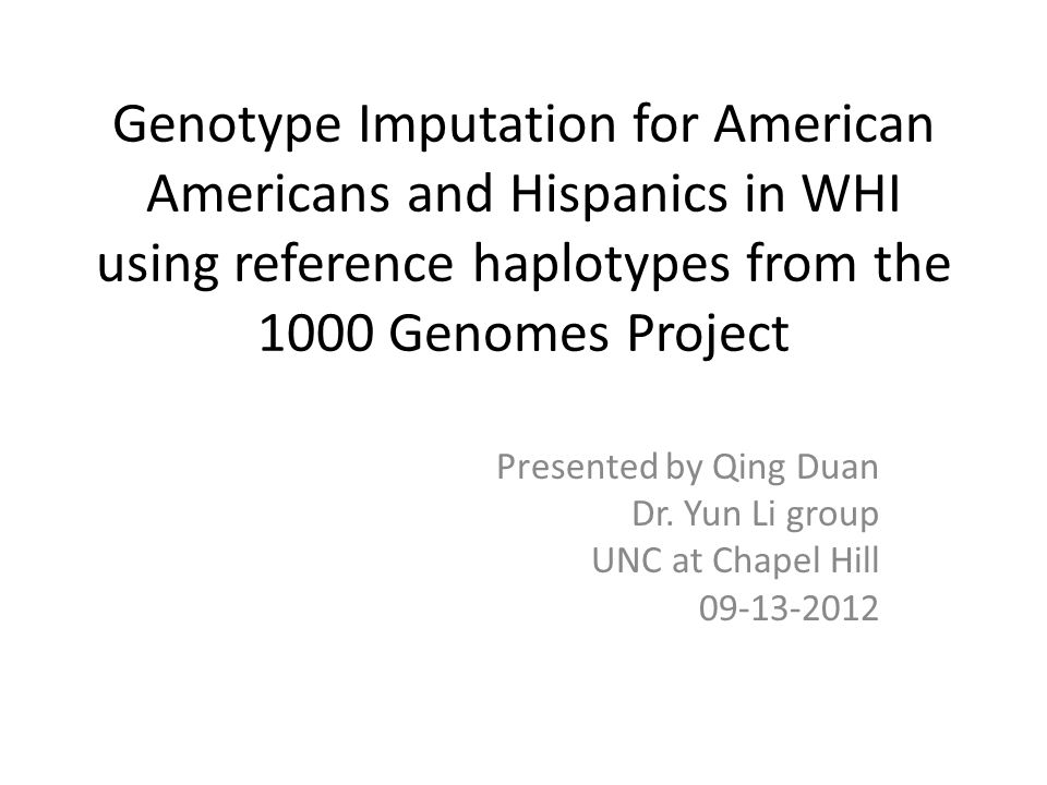 Presented by Qing Duan Dr. Yun Li group UNC at Chapel Hill 09-13-2012
