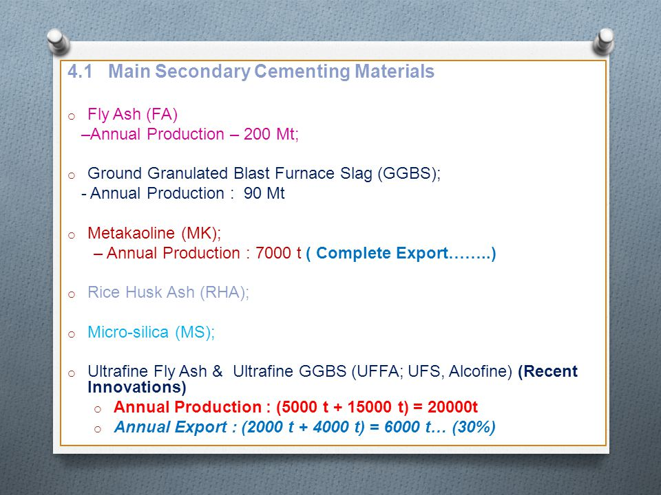 4.1 Main Secondary Cementing Materials