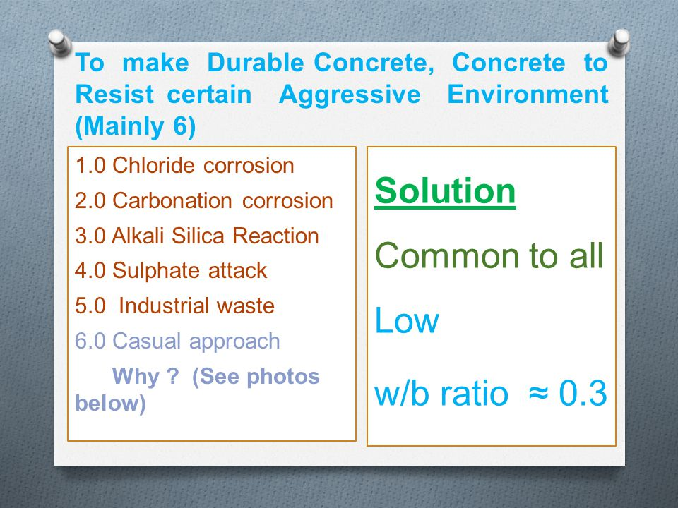 Solution Common to all Low w/b ratio ≈ 0.3