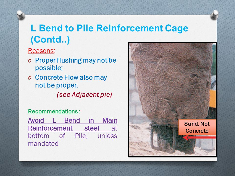 L Bend to Pile Reinforcement Cage (Contd..)