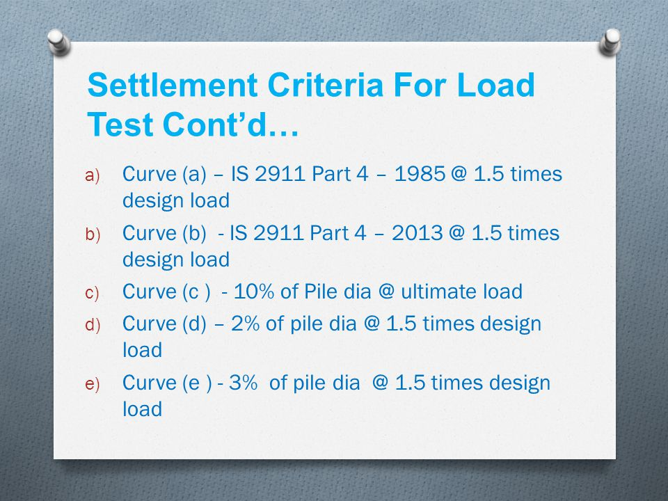 Settlement Criteria For Load Test Cont'd…