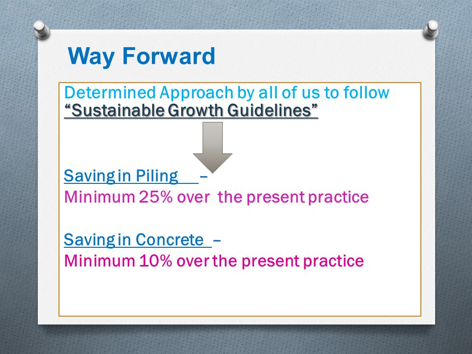 Way Forward Determined Approach by all of us to follow Sustainable Growth Guidelines Saving in Piling –