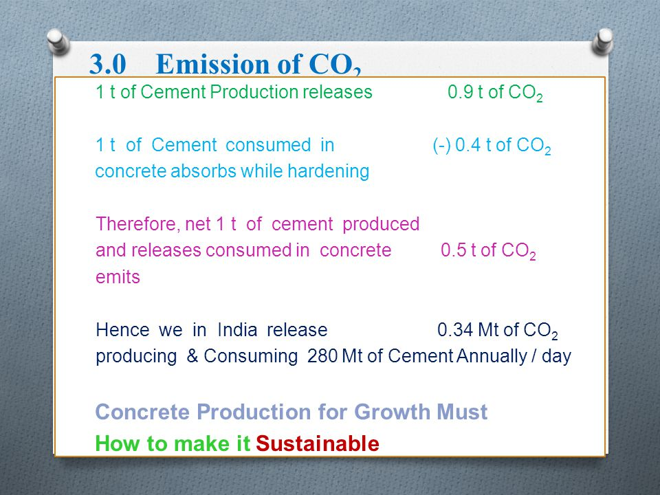 3.0 Emission of CO2 Concrete Production for Growth Must