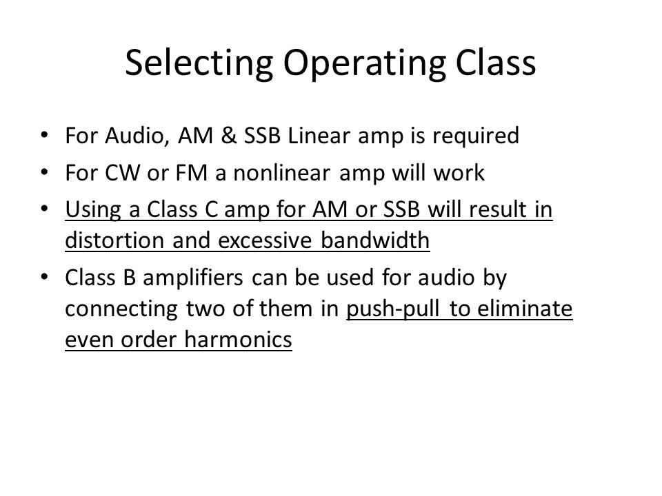 Selecting Operating Class