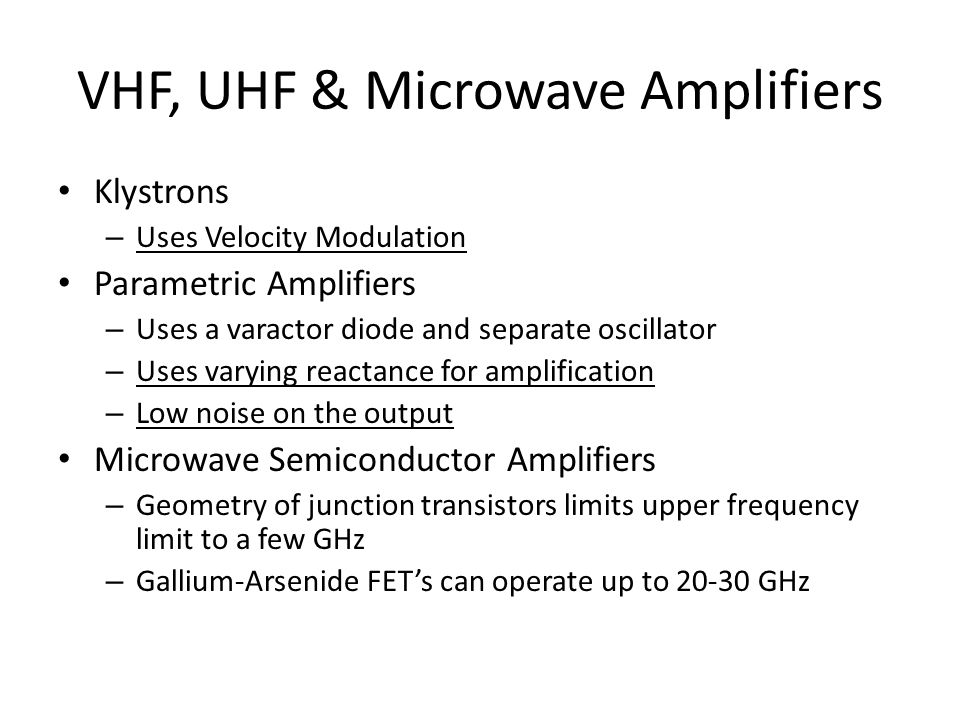 VHF, UHF & Microwave Amplifiers