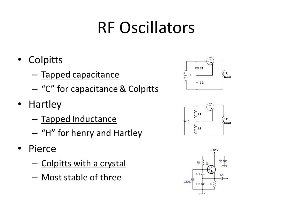 RF Oscillators Colpitts Hartley Pierce Tapped capacitance
