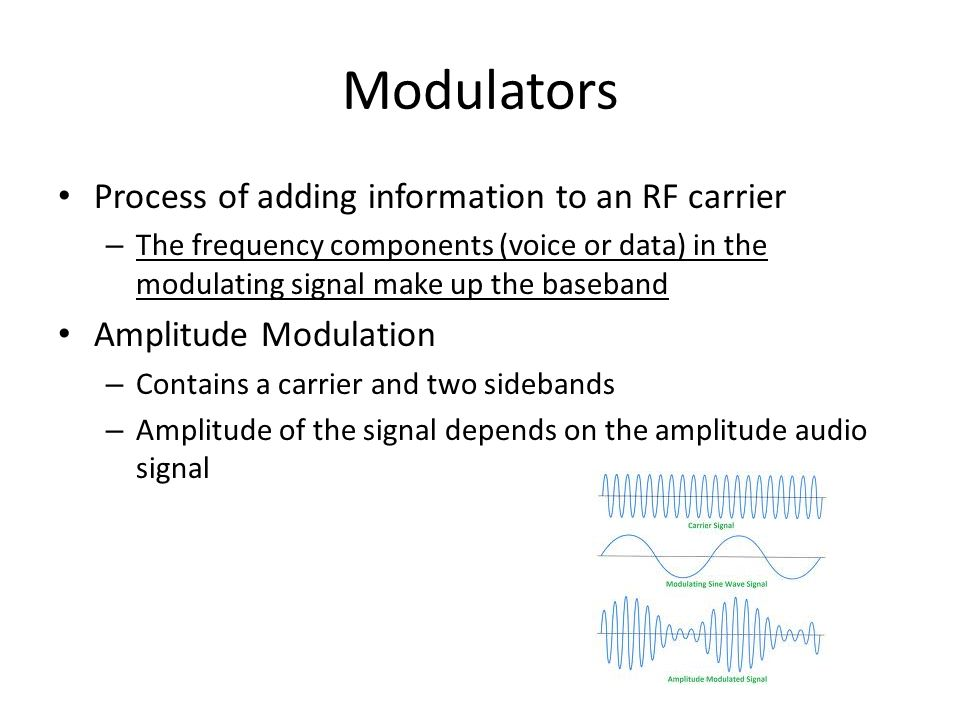 Modulators Process of adding information to an RF carrier