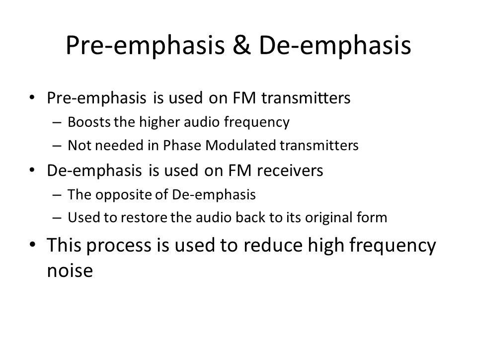 Pre-emphasis & De-emphasis