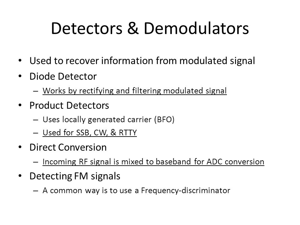Detectors & Demodulators